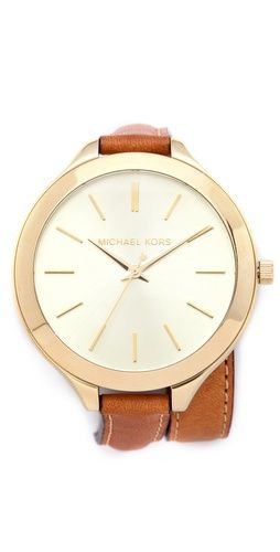Double wrap watch- love the contrast between the oversized dial and the slim strap!