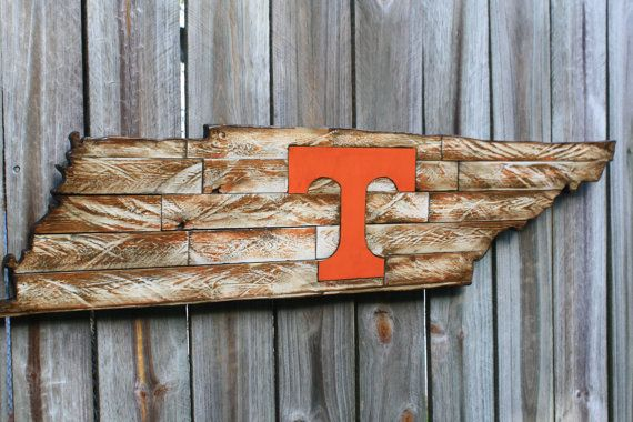 Tennessee Volunteers Wooden Team Sign State of by millcreekcrafts | Rustic Sports Designs Wall ...