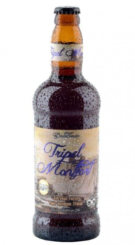 Cerveja Tripel Hop Monfort, estilo Belgian Tripel, produzida por Cervejaria Bodebrown, Brasil. 10% ABV de álcool.