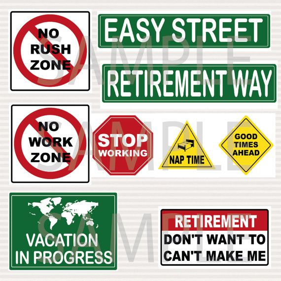 Retirement Party Printable Signs Kit Road Signs by ...