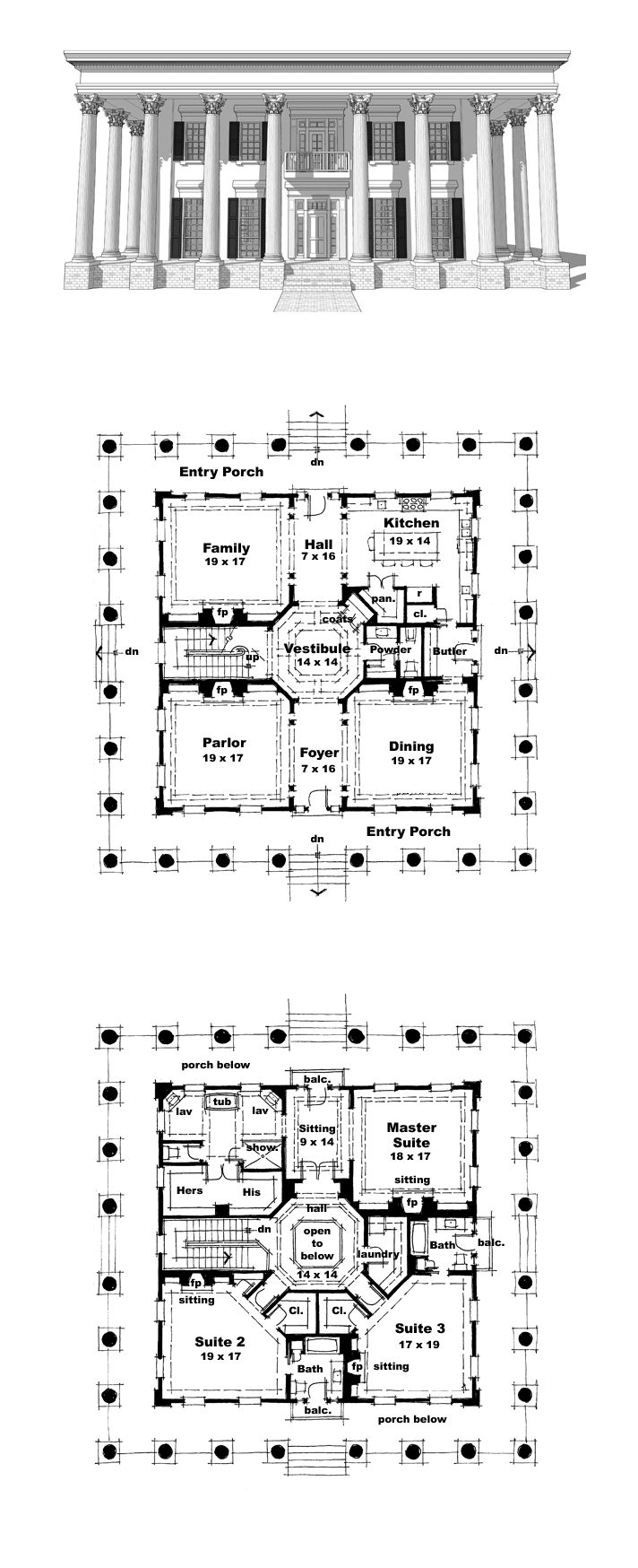 Plantation House Plan 67508 | Total Living Area: 4500 SQ FT, 3 bedrooms and 3.5 bathrooms. The large wrap-around porch shades all sides of the house, providing outdoor space for entertaining and relaxing. #plantationhome
