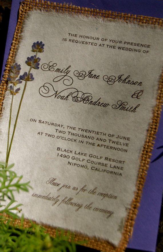 DIY Rustic Burlap and Lavender Wedding by InvitationsByAlecia