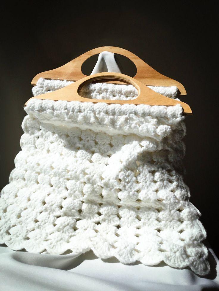 Hand Crocheted Vintage Tote. So Cozy!