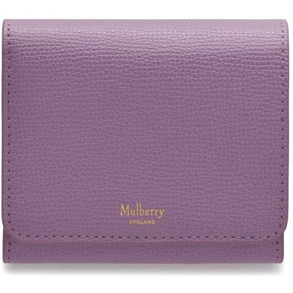 Mulberry Small Continental French Purse (£225) ❤ liked on Polyvore featuring bags, lilac, lightweight bags, embossed wallet, mulberry wallet, mulberry bag and purple bag