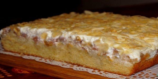 Очень вкусний пирог с персиком и грушей . Бисквит