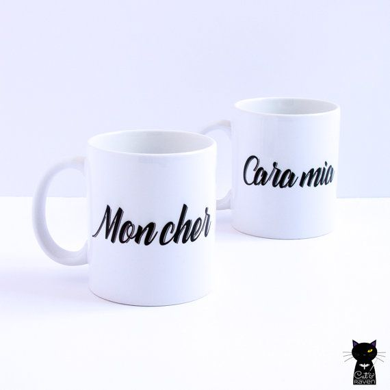 Gomez & Morticia Addams Mugs for him and her by catandraven