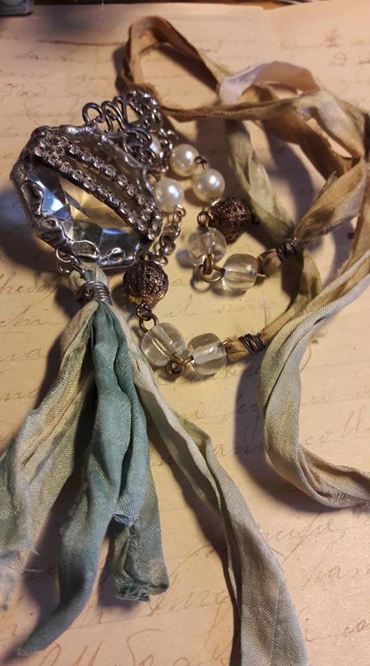 Beautiful silk necklace made by Anna using Perran Yarns handdyed recycled sari silk ribbons https://www.facebook.com/anna.vallasciani