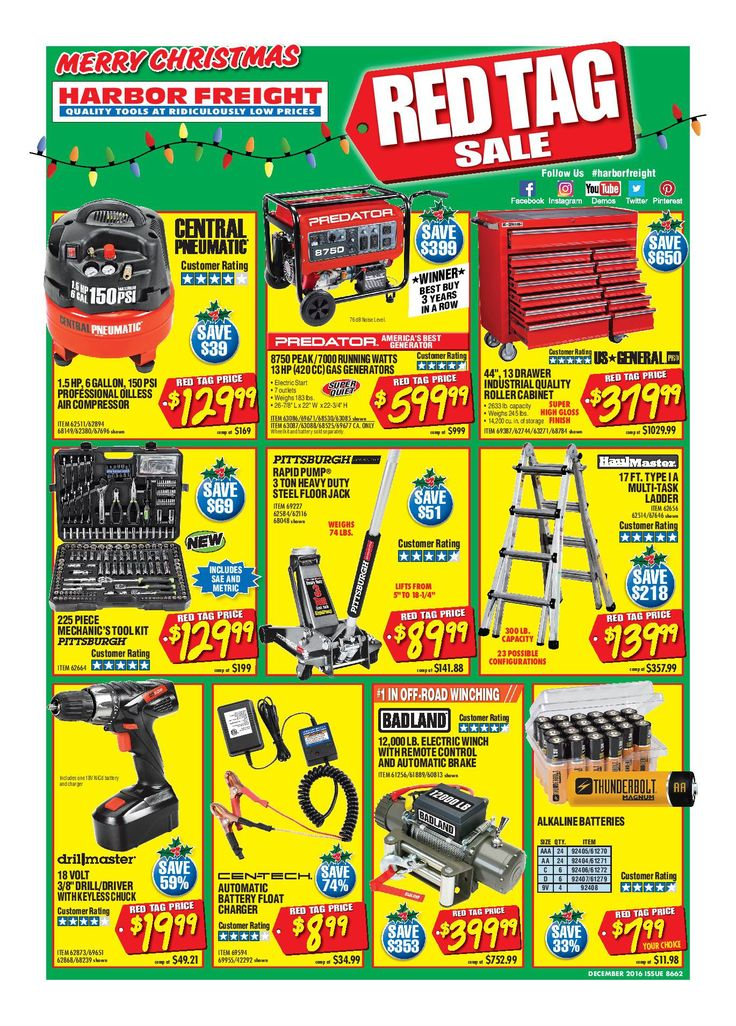 Harbor Freight Tools Weekly Flyer December 2016 - http://www.olcatalog.com/harbor-freight-tools/harbor-freight-tools-weekly-flyer.html