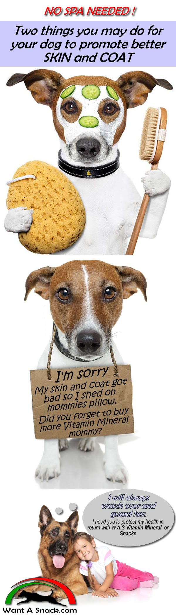Read the true testimony of our customers  how W.A.S keeps their dog healthy! http://www.wantasnack.com/testimonials/#marilyn  If you love your dog, try Snacks or our Vitamin Mineral power  just add about a tablespoon to their daily feeding for maximum health. Try V & M or  Snacks today.  http://www.wantasnack.com/family-dogs/