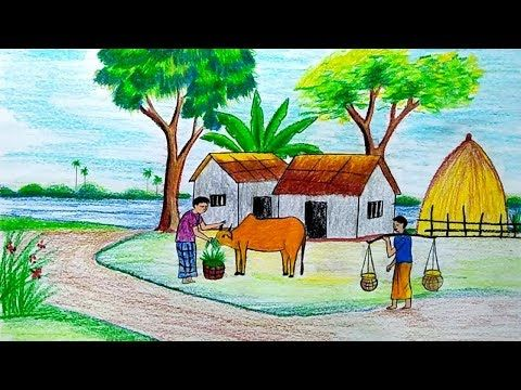 How to draw scenery of village landscape step by step