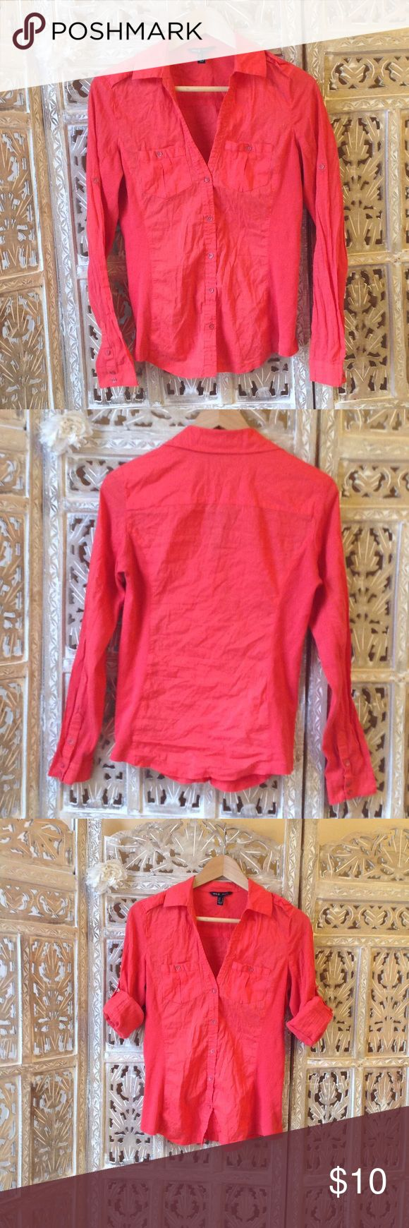 Mango button down red blouse size M MNG (Mango, Spain cloth designer store) casual button down pink shirt. Size M.Rolled up sleeves. Extremely soft.  Very good condition. Mango Tops Button Down Shirts