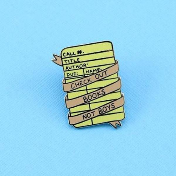 Check Out Books Not Boys Enamel Pin – punkypins