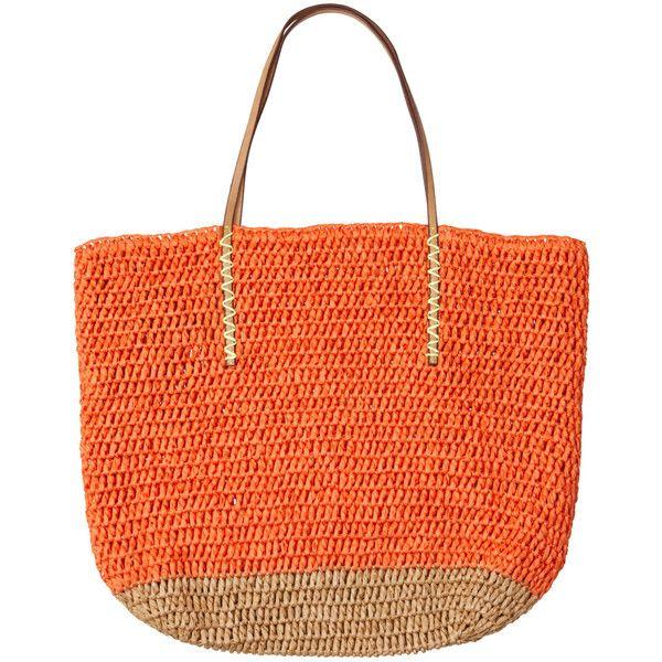 LOFT Straw Beach Bag ($40) found on Polyvore