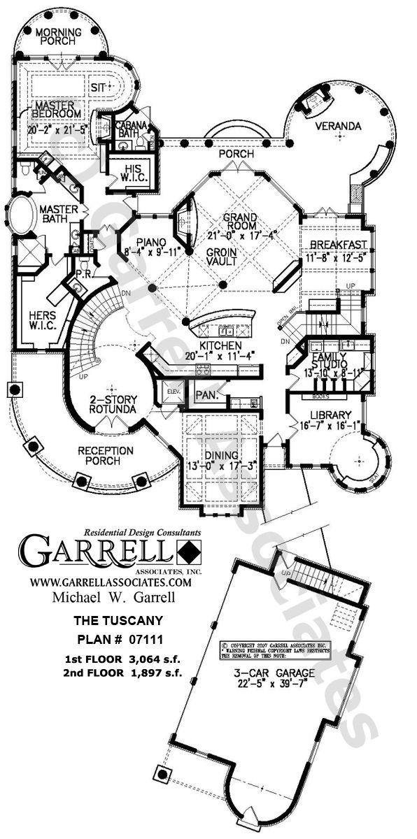 Tuscany House Plan # 07111,  1st Floor Plan, Mediterranean Style House Plans, Costa Rican Style House Plans... Love the piano area!