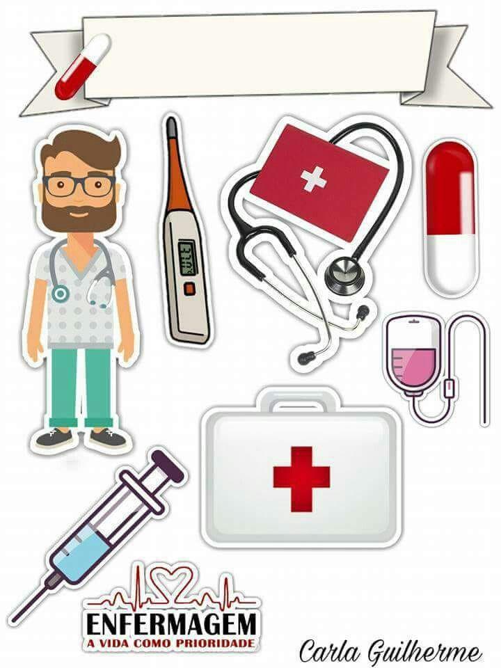 Pin de Thamires Gouveia em Enfermagem Bolo com plaquinhas, Bolo de papel e Toppers de  -> Decoração Festa Enfermeiro