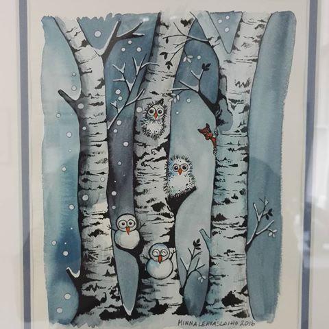 #naivistinen #naiveart #illustrator #illustration #watercolorpainting #watercolours #forest #tree #snowing #snowman #owl #taidekeskusväinölä #suomi #finland #kidsillustration #naïveart #artenaif #childrensillustration