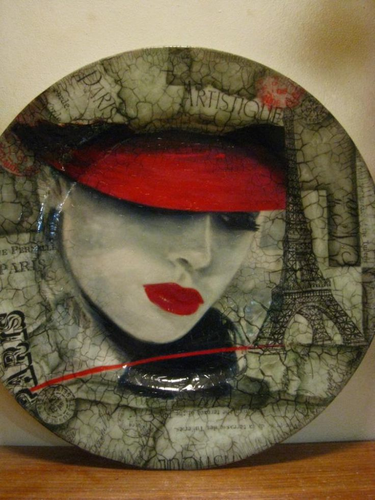 тарелка «парижанка» http://dcpg.ru/blogs/1717/ Click on photo to see more! Нажмите на фото чтобы увидеть больше! decoupage art craft handmade home decor DIY do it yourself plate
