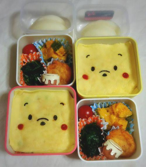 posted by @chika_5055 今日のお弁当プーさんオムライスチキンナゲット ほうれん草の煮浸し...