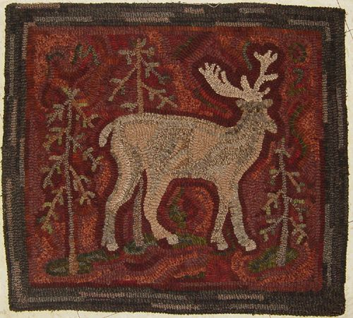 Primitive Rug Patterns For Primitive Rug Hooking At Black Sheep Wool  Designs Folky Deer [   Rug In This Photo Hooked By Rhonda Manley.