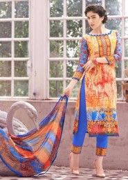 Casual Wear Cotton Multi Colour Printed Churidar Suit