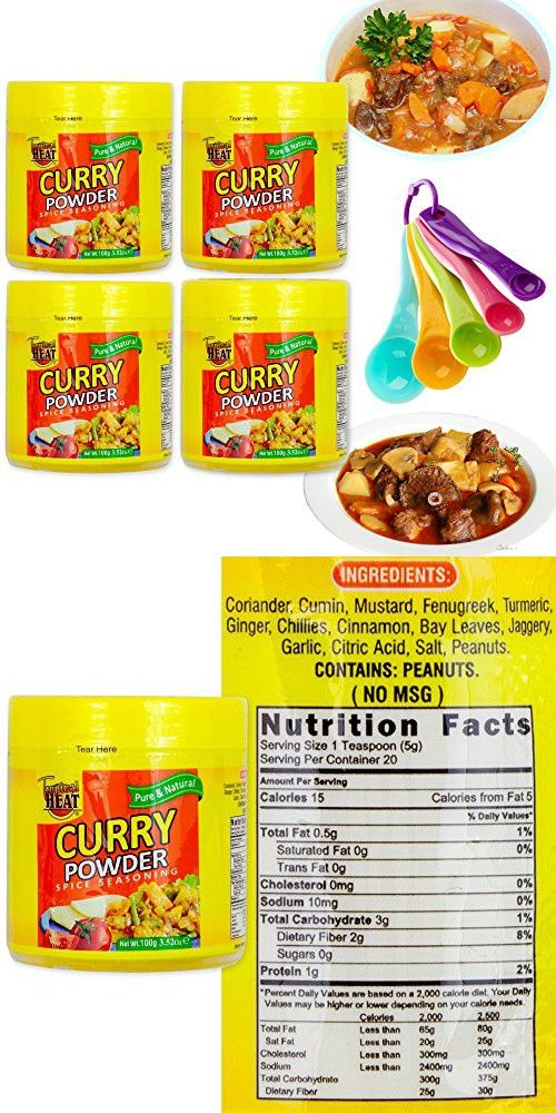 Curry Power Spices Seasoning Gourmet Collection Gift Set | All Pure & Natural Cooking Flavors. No MSG Added | 4 Vegetable Curry Mix Bottles & Free Measuring Spoons Set | Tropical Heat (Curry)