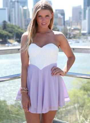 White & Lilac Strapless Dress with Lace Bodice & Cutout Back,  Dress, light purple lace cutout strapless, Chic