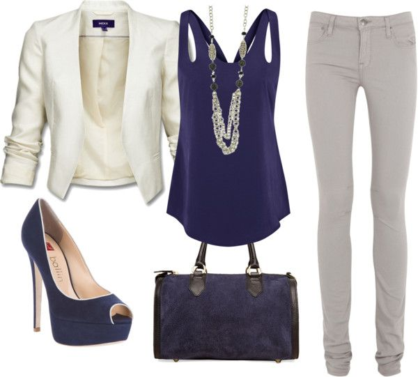 love this outfit: White Blazers, Style, Color, Jackets, Jeans, Navy, Work Outfits, Date Night Outfits, Blue And White