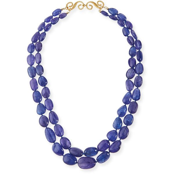 Splendid Company Two-Strand Smooth Tanzanite Necklace ($13,425) ❤ liked on Polyvore featuring jewelry, necklaces, graduation jewelry, tanzanite necklace, 18k necklace, strand necklace and 18 karat gold necklace