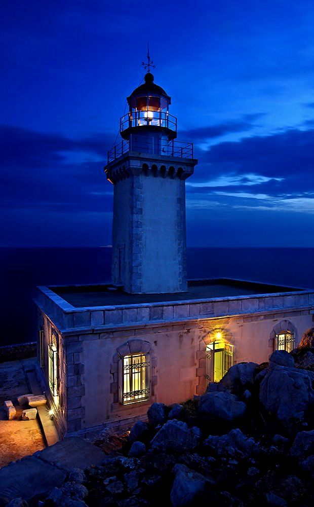 The Lighthouse of Tainaro (Porto Cagio) in Mani, Laconia, Greece