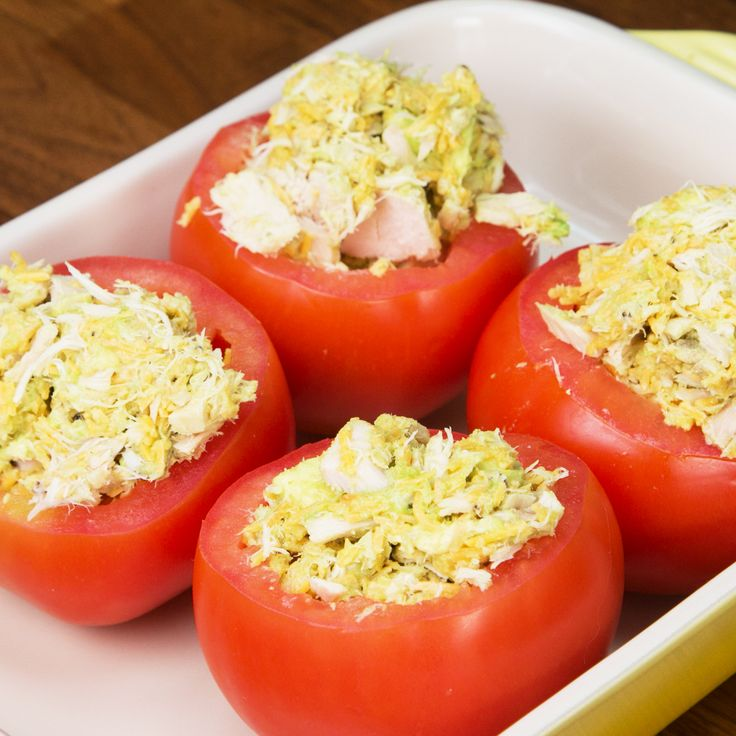 Put a twist on the classic tuna melt with these Tuna Stuffed Tomato Melts. They are made of deliciousness...