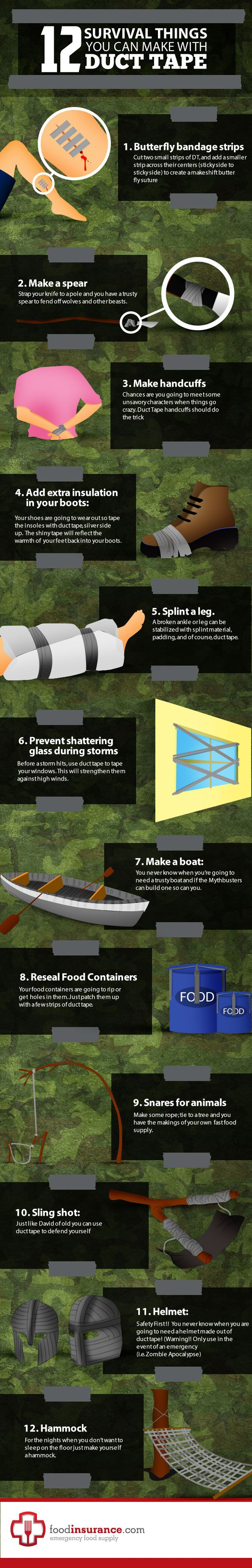 In this infografic you'll find 12 survival things you can do with duct tape. I don't know what they were thinking in #11 though.