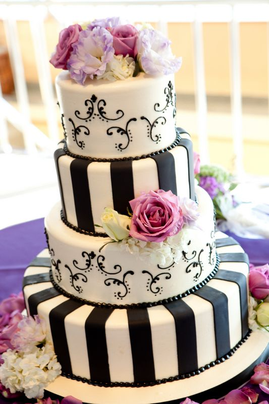 Beautiful Black & White Wedding Cake with Purples accents