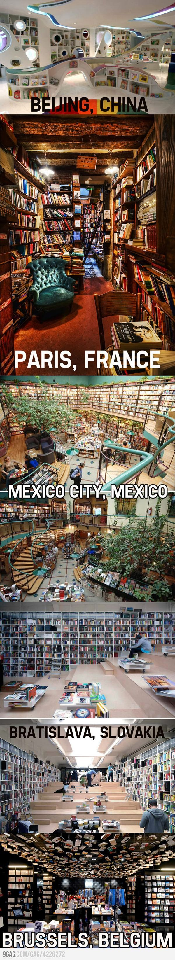 Awesome bookstores from around the world. If I had a bucket list, this would be on it.