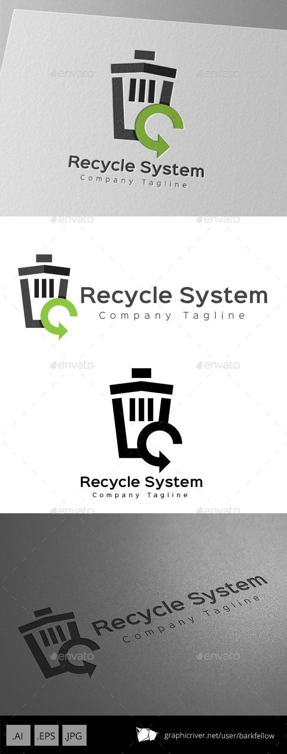 Recycle Bin System Logo Design Template  - 3 files AI CS EPS 10 JPG  - CMYK 300ppi print ready  - Re-sizable  - Editable text  - E
