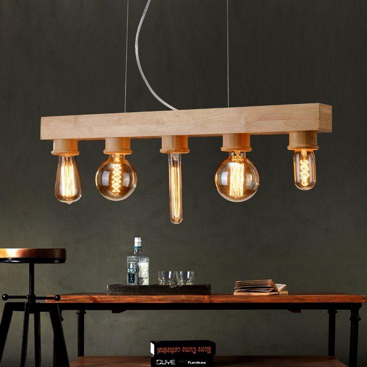 suspension bois vintage à 5 ampoules à filament Edison avec socles en bois