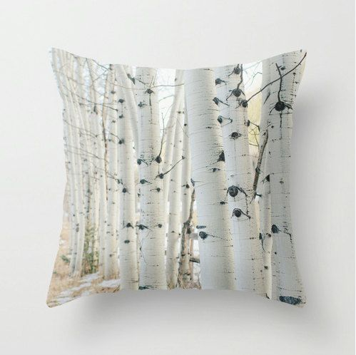 SALE Pillow Cover - Birch Wood Trees - Nature Home Decor - Black White Beige Neutral - Pillow Case - 18x18. $36.00, via Etsy.
