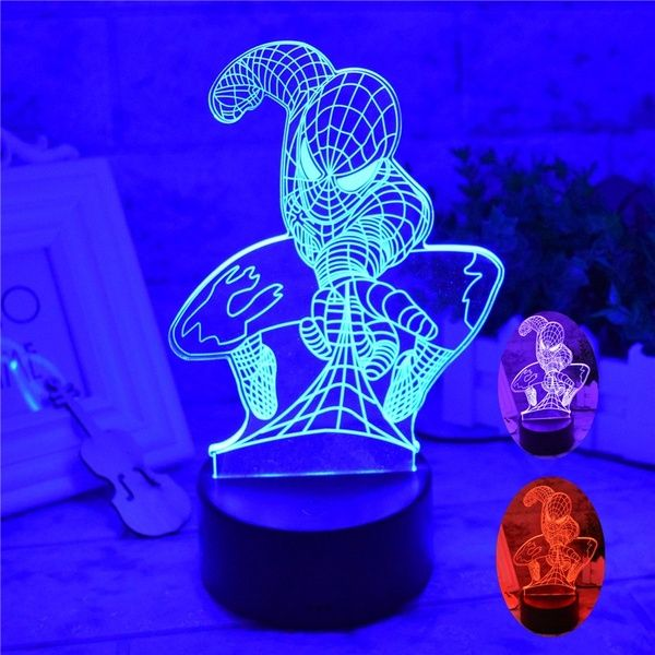 Led Night Light Table Lamp Bulb Spider Man 3d Acrylic Bedroom Night Lighting Lamp Home Decoration Gifts Led Night Light Light Table Light Project