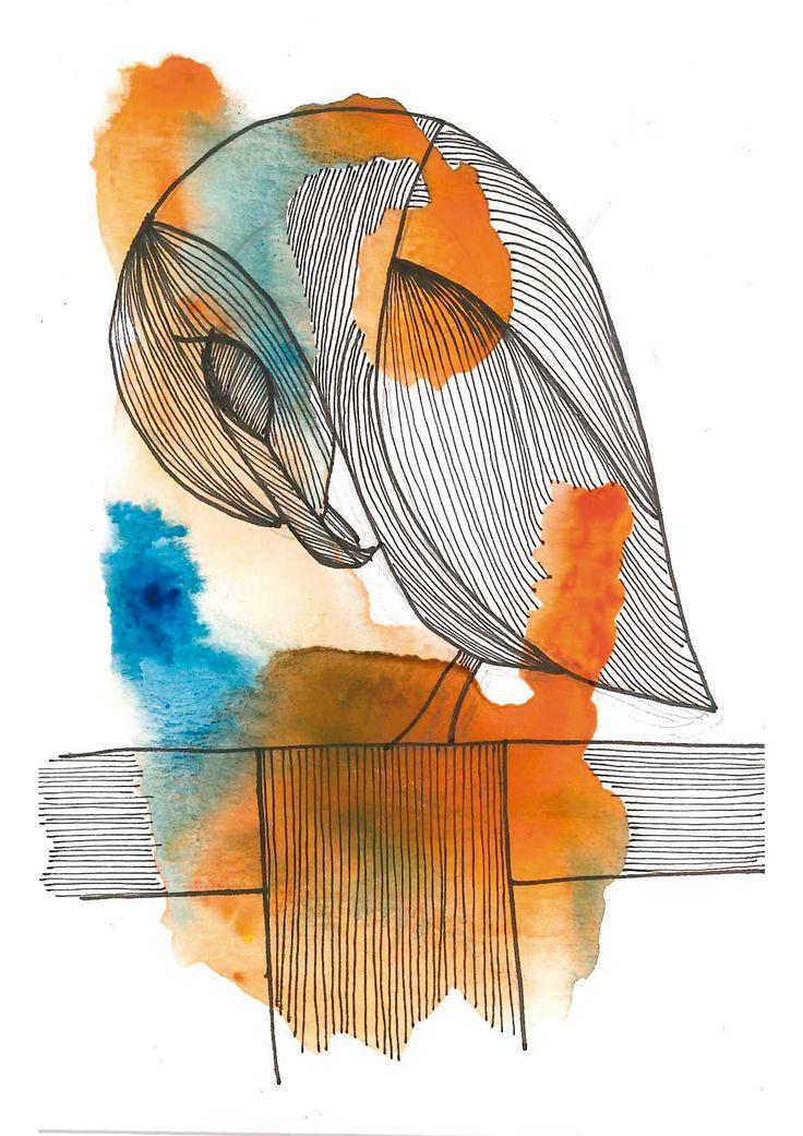 Buho N°1  #buho #owl #acuarela #watercolor #animal #pajaro #bird #lines #color