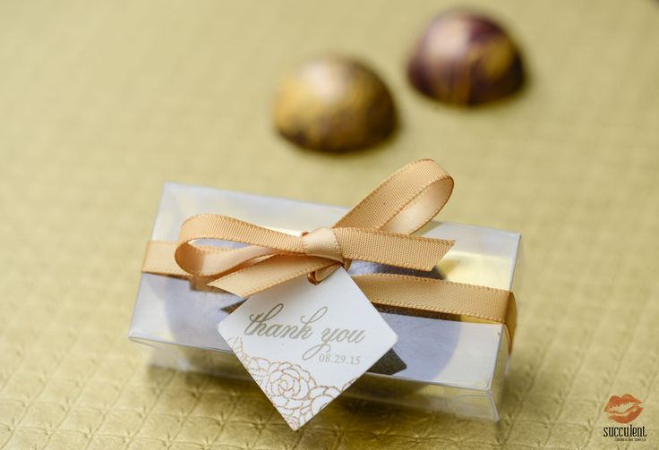 Our signature chocolate bonbons in a box of two for a custom wedding favor.