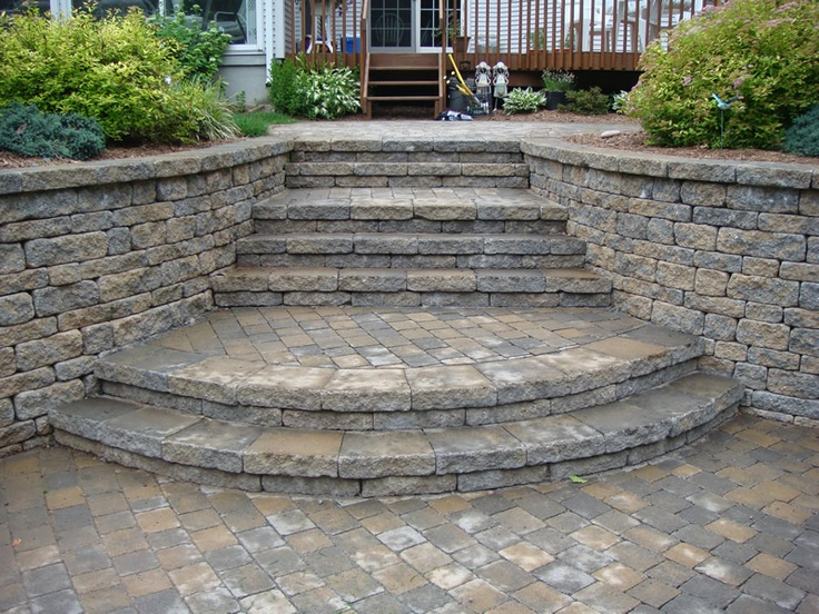 7 best curved stone steps images on pinterest backyard for Curved garden wall ideas