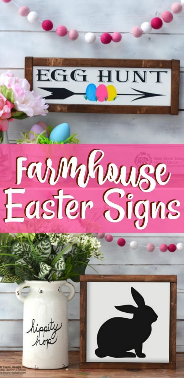 Farmhouse Style Easter Signs Wooden Easter Decor Idea Diy Easter Bunny Decoration Egg Hunt T Easter Signs Easter Bunny Decorations Happy Easter Printable
