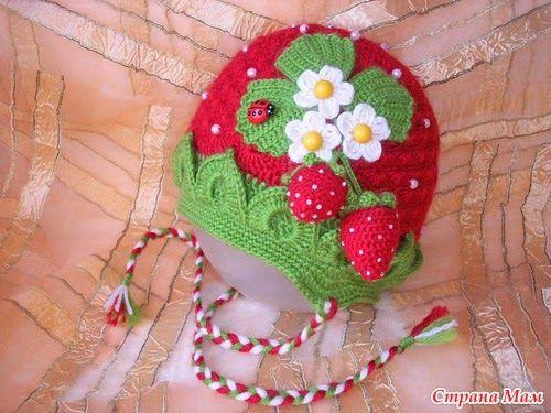Receita de Crochê Infantil: Touca moranguinho em crochê