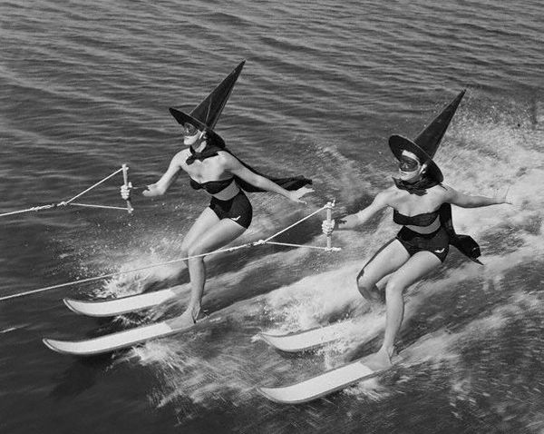 Water-skiing witches