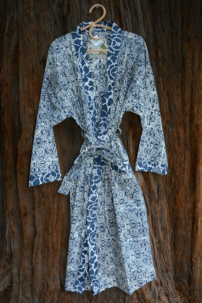 Kimono Robe, Indigo