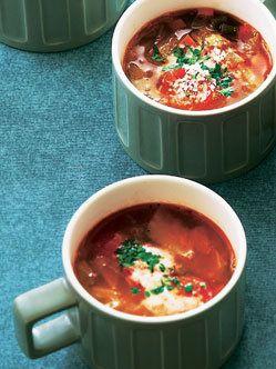 Recipe : ポークビーンズのミネストローネ/芯から温まる具だくさんスープ。 #Recipe #レシピ