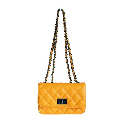 Designer Style Quilted Italian Yellow Leather Handbag (Small Size) - £44.99