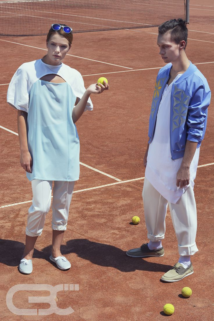 Tennis court, sport luxe, sportswear, fitness, campaign photos, unisex, white pants, asymmetric dress, teal dress, blue bomber jacket. Order via facebook, pm or e-mail.