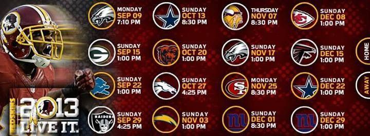 Redskins schedule
