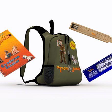 ¡La mochila de Tadeo Jones! acompañada de cuadernos, regla y plumier ¿quién da más?