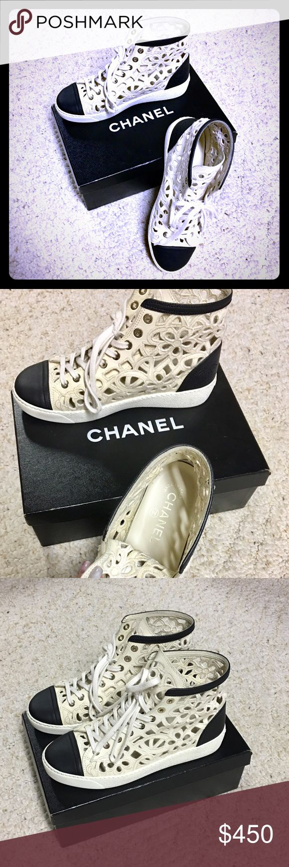 Authentic Chanel flower lace leather sneakers 37.5 100% Authentic Chanel flower lace cut out leather sneakers in size 37.5 it fits more like 6.5 or 7 US it seems as all Chanel shoes runs smaller, I didn't know that, I bought those shoes on posh and totally in love with them but unfortunately they didn't fit me that's why I'm selling them. It's very rare sneakers and hard to find, still in perfect condition! I'm looking only to sell them or trade to another pair like this in 38 or 38.5…